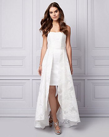Organza Strapless High-Low Gown