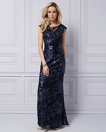 Embroidered Sequin & Mesh Illusion Gown