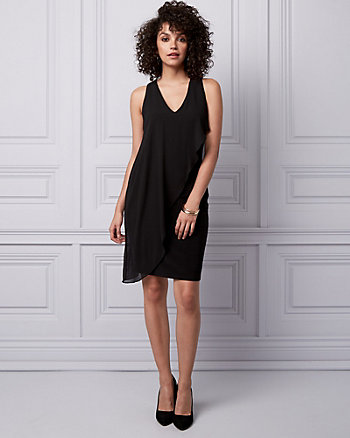 Chiffon & Knit V-Neck Dress