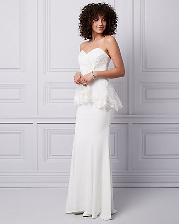 Embroidered Mesh & Lace Peplum Gown