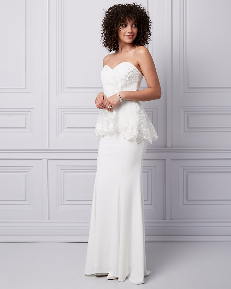 Embroidered Mesh & Lace Peplum Gown | LE CHÂTEAU