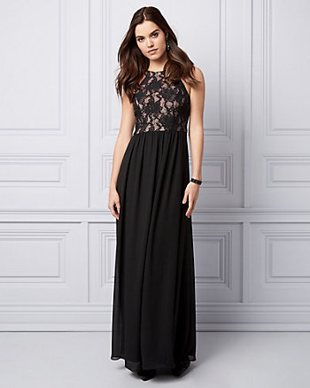 Lace & Chiffon Halter Gown