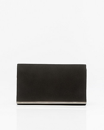 Faux Suede Flapover Clutch