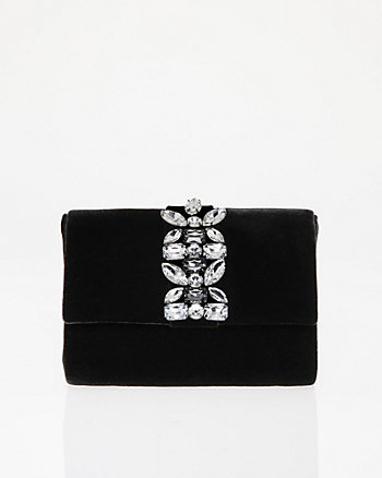 Jewel Embellished Velvet Flapover Clutch