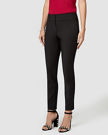 Cotton Blend & Velvet Trim Slim Leg Pant