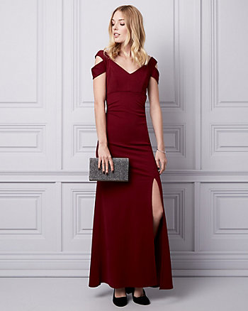 Knit Crêpe Cold Shoulder Gown
