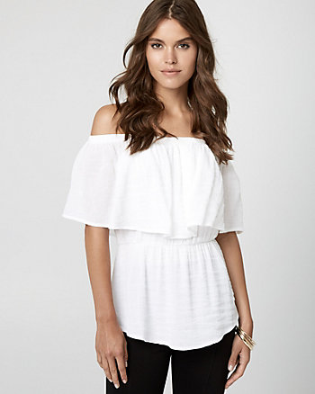 Gauze Off-the-Shoulder Blouse