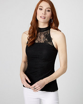 Lace Illusion Mock Neck Sleeveless Top