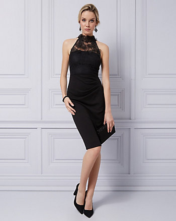 Lace & Knit Crêpe Halter Cocktail Dress