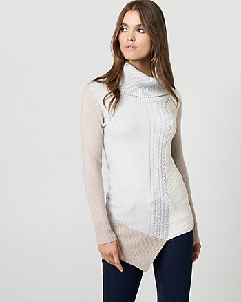 Colour Block Brushed Viscose Tunic Sweater