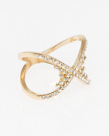 Gem Criss-Cross Ring