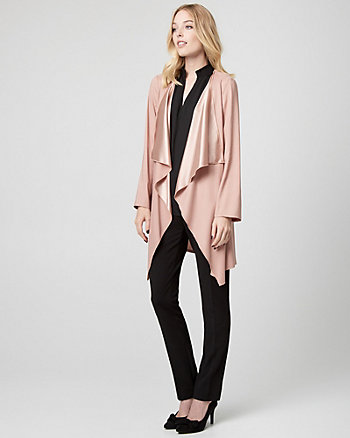 Satin Open-Front Robe Jacket