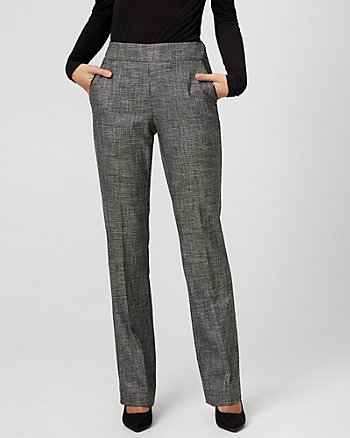 Houndstooth Viscose Blend Slight Flare Pant