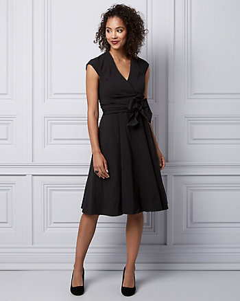 Bengaline V-Neck Wrap-Like Dress