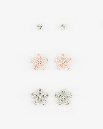 Set of Three Gem Stud Earrings