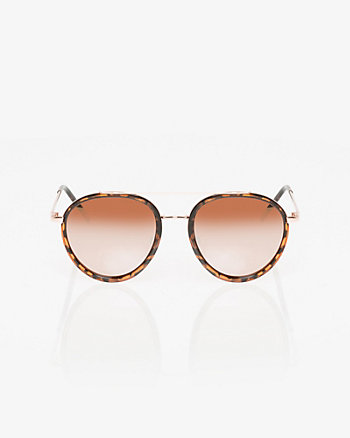 Round Plastic & Metal Sunglasses