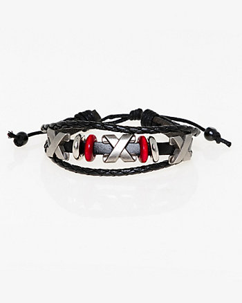 X Leather-Like Beaded Bracelet