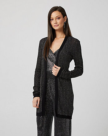 Metallic Knit Longline Cardigan