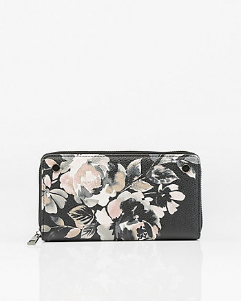 Floral Print Leather-Like Wallet