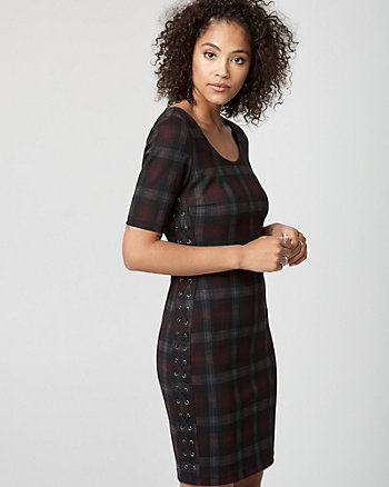 Check Print Ponte Scoop Neck Dress