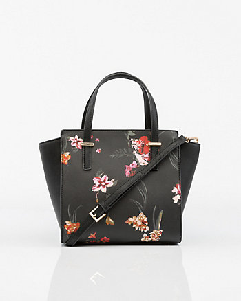 Floral Print Saffiano Leather-Like Satchel