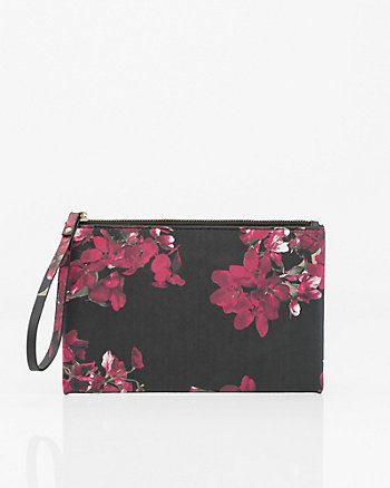 Floral Print Saffiano Leather-Like Pouch