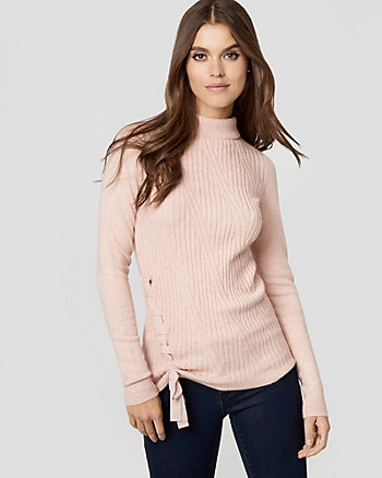 Textured Brushed Viscose Mock Neck Sweater