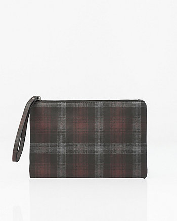 Check Saffiano Faux Leather Pouch