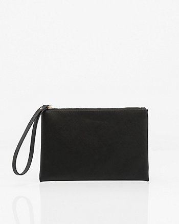 Saffiano Leather-Like Cosmetic Pouch