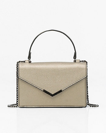 Metallic Leather-Like Crossbody Bag