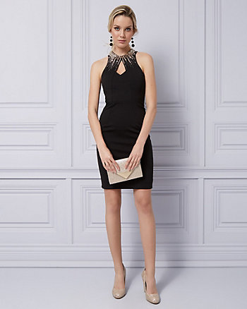 Embellished Ponte Halter Cocktail Dress