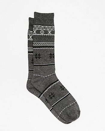 Fair Isle Cotton Blend Socks