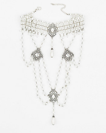 Gem & Pearl-Like Bib Necklace