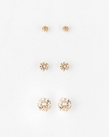 Cubic Zirconia Stud Earrings Set