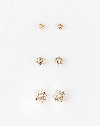 Cubic Zirconia Stud Earrings Set