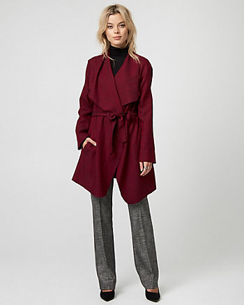 Two-Tone Belted Wrap Coat