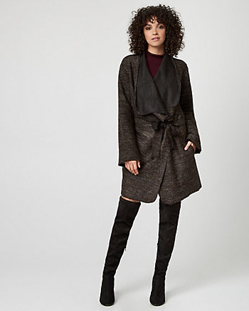Italian Tweed Bouclé Wrap Coat