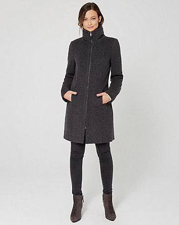 Cashmere Blend Funnel Neck Coat