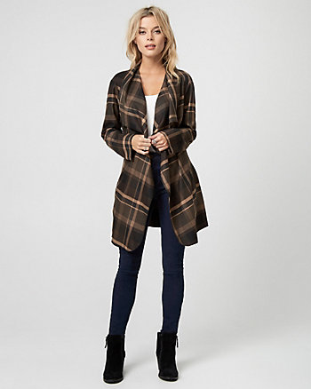 Check Print Woven Belted Wrap Coat