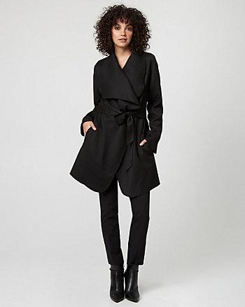 Italian Wool Twill Belted Wrap Coat