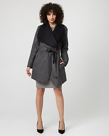 Italian Wool Blend Wrap Coat