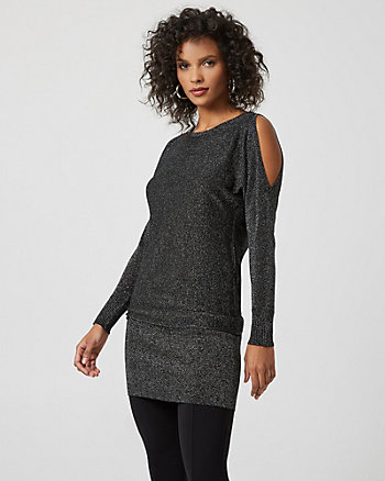 Metallic Knit Cold Shoulder Sweater Dress