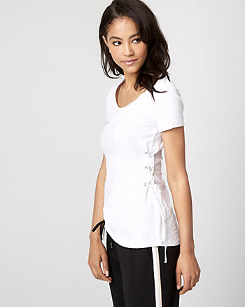 Cotton Slub Lace-Up T-Shirt
