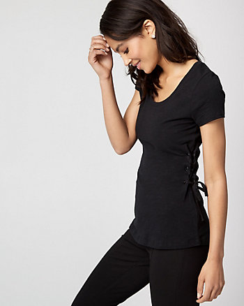 Cotton Slub Lace-Up T-Shirt