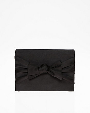 Satin Bow Flapover Clutch