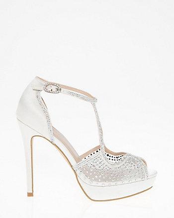 Embellished Satin & Mesh Criss-Cross Sandal