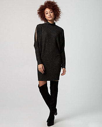 Cut & Sew Knit Mock Neck Sweater Dress