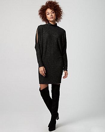 Cut & Sew Knit Mock Neck Sweater Dress