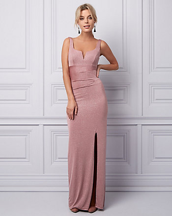 Sparkle Knit Deep V-Neck Gown