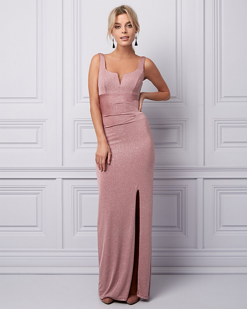 Sparkle Knit Deep V-Neck Gown | LE CHÂTEAU